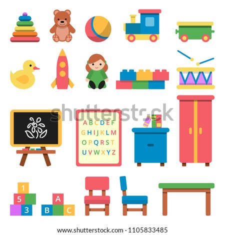 Various toys for preschool kids. Toy and furniture for babyt and children. Vector illustration ストックフォト ©