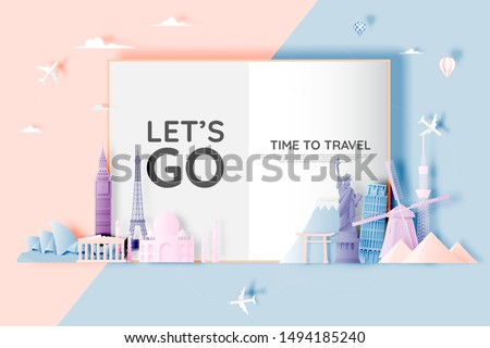 Various travel attractions in paper art style and pastel color and famous tourist landmarks elements for travel and tour . Vector illustration