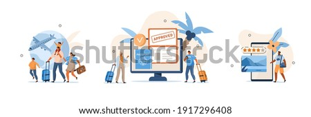 Various Travel Icons. Characters Planning Trip and Choosing Destination, Preparing Travel Visa and Passport, Booking Flight and Hotels. Vacation and Tourism Concept. Flat Cartoon Vector Illustration.