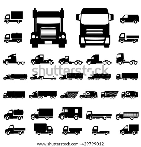 Various truck silhouettes. Commercial van icons set