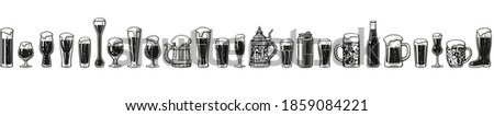 Various types of beer glasses and mugs. Seamless border. Hand drawn engraving style vector illustration isolated on white background. Design elements for brewery, beer festival, bar, pub decoration. Stock photo ©
