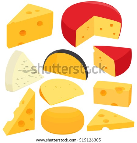 Various types of cheese. Vector illustration