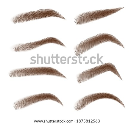 Various types of eyebrows. Classic type and different eyebrow thickness. Brown eyebrow bag. Brown eyebrows isolated on white background. Vector illustration Foto stock ©