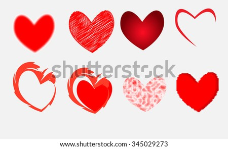Various types of heart vector