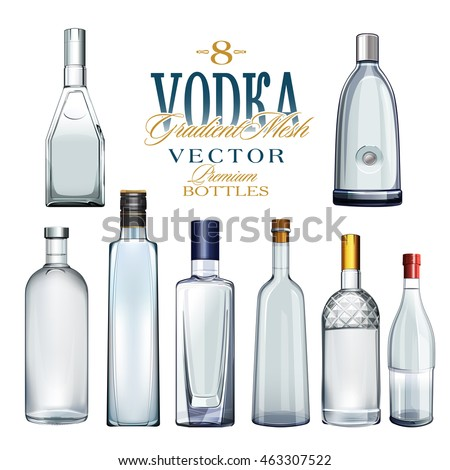 various types of vodka bottles