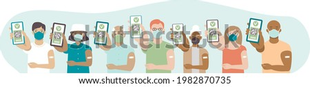 Various Vaccinated people with digital health passports. Young and aged men and women showing an app on their mobile phones. Multiracial group. Green immunity certificate concept. Flat vector