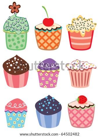 various vector cupcakes set