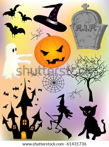 Various vector halloween elements design