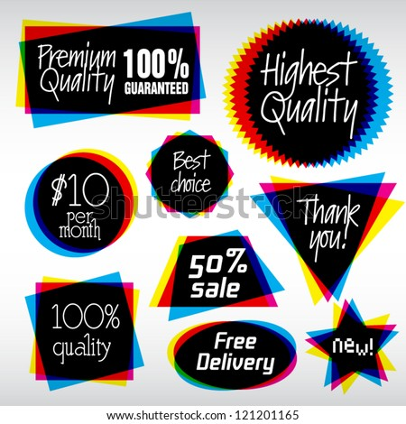 Various Vector Labels in CMYK like style - stock vector