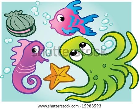 various vector sea creatures: clam, fish, seahorse, octopus, starfish