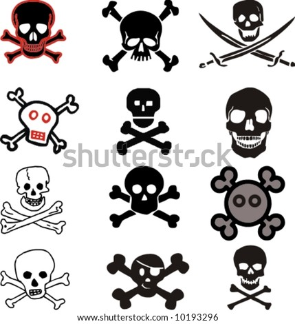 various vector skulls and crossbones design