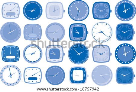Various watch or clock face vector illustrations in different shapes and tones of blue.