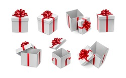 Various white boxes with red ribbon bows mockup. Xmas and New Year container with silk tape decoration. Many realistic gift boxes isolated on white background vector illustration