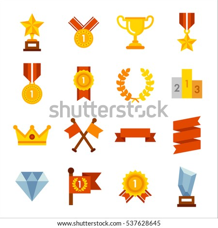Various winning trophies, prize money, medals, icons, objects