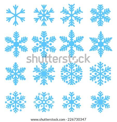 various winter snowflakes