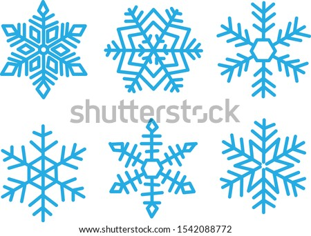 Various winter snowflakes vector set. Snowflake Vectors.