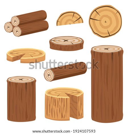 Various wood logs and trunks collection to make poster decoration ストックフォト ©