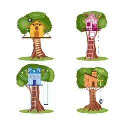 Various wooden children treehouses with rope ladders and swings set, flat cartoon vector illustration isolated on white background. Toy houses on tree collection.