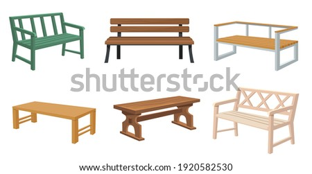 Various wooden garden and city benches flat set for web design. Cartoon outdoor wicker benches isolated vector illustration collection. Furniture and elements for landscape locations concept Сток-фото ©
