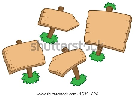 Various wooden signs - vector illustration.