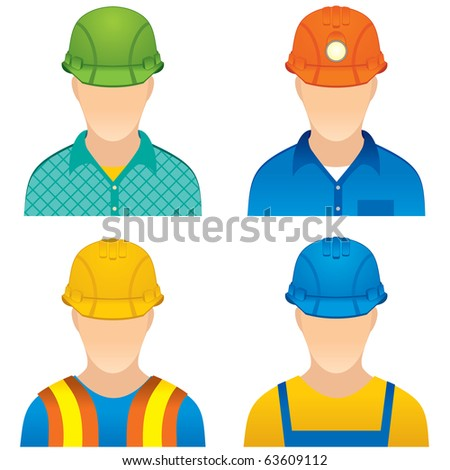 Various Worker icons - dummies of home worker, road builder, construction worker and miner.