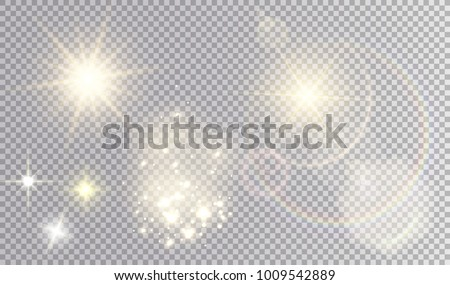 Various yellow light effects set. Suns with and withour flare trail, glistening fog, small  stars.