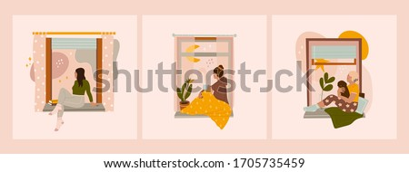Various Young ladies looking through window while sitting on windowsill at home. Set of three Hand drawn colored Vector illustrations. Thinking, meditating, reading concept. Stay at home
