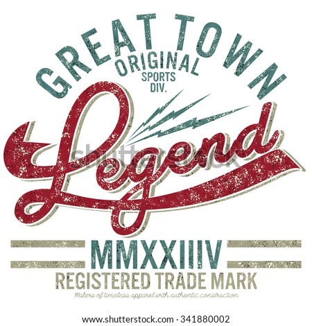 varsity graphics,college graphics for t-shirt,great town legend
