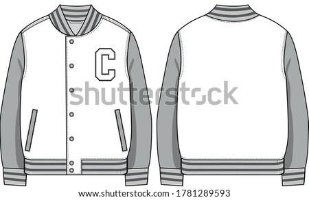 Varsity jacket, fashion technical drawing Сток-фото ©
