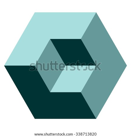 vasarely cube in teal shades