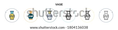 vase icon in filled  thin line