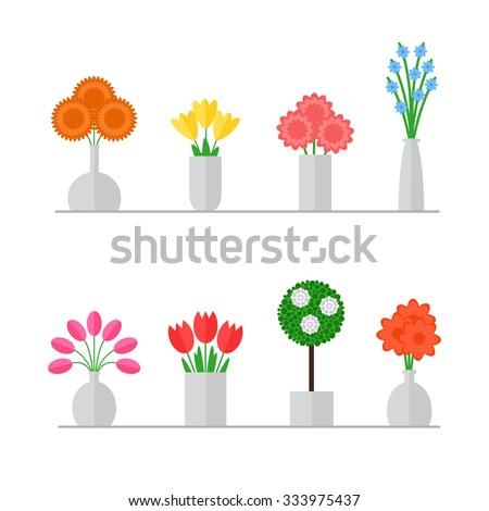 vase of flowers isolated set on