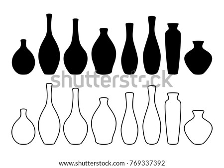 Vase set. Various forms of vases. Home interior decoration. Vector icon collection. Vases silhouettes of various shapes in thin line style. Vector illustration.