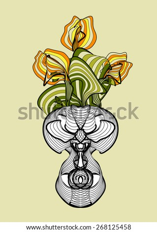 vase with abstract spring flowers tulips