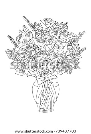 Vase with flowers. Hand drawn picture. Sketch for anti-stress adult coloring book in zen-tangle style. Vector illustration  for coloring page, isolated on white background.