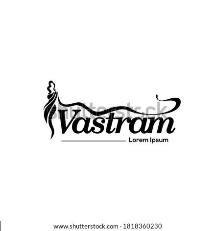Vastram logo (garments) with women Saree (A type of Indian women's cloth) figure  Stockfoto ©