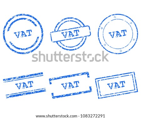 Vat stamps on white
