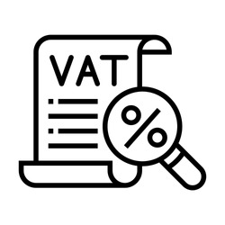 VAT taxes icon. Expense report tax. Simple design. Line vector. Isolate on white background.