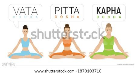 Vata, pitta, and kapha doshas. Ectomorph, mesomorph and endomorph. Ayurvedic physical constitution of human body type. Editable vector illustration, for yoga design - banner, poster, leaflet. Сток-фото ©
