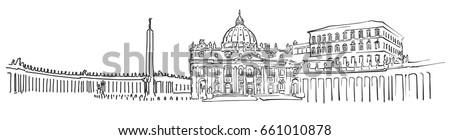 vatican city panorama sketch