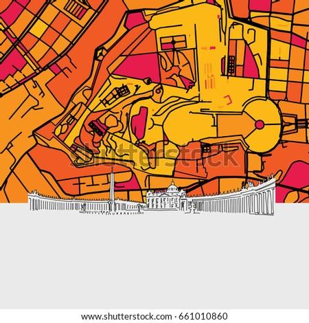 vatican city skyline map