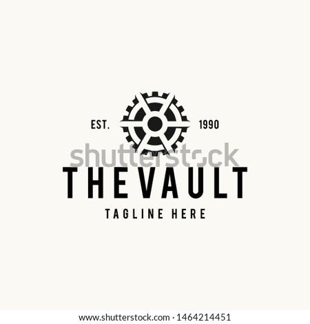 Vault logo hipster vintage retro door vector illustration Сток-фото ©