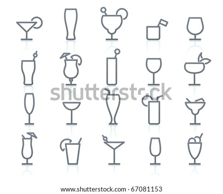 Vctor icons  set of cocktail and liquor glasses.