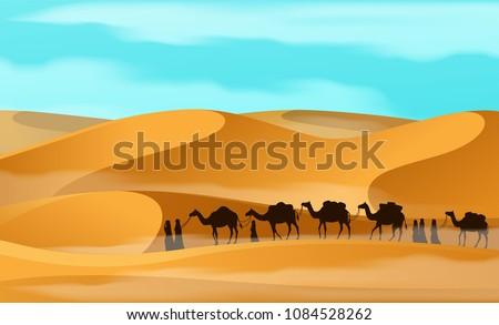 vecor camel caravan in the