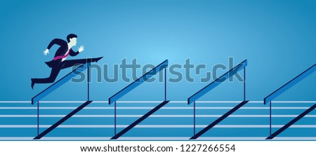 Vecor illustration, businessman running jumping over obstacle hurdles on track, business challenge concept