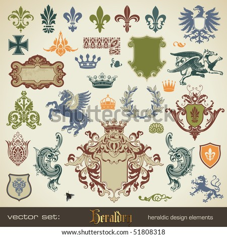 vecor set heraldry bits and pieces for your heraldic design projects