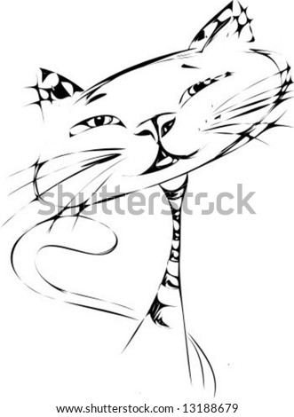 Vecotor illustration of a handdrawing funny cat