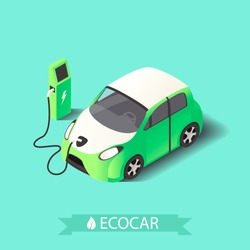 Vecotr 3d isometric electric car.