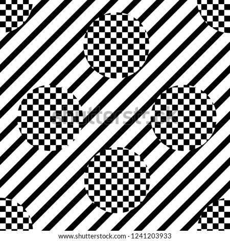 stock-vector-vecror-of-seamless-pattern-with-diagonal-stripes-and-checkered-polka-dots-black-and-white