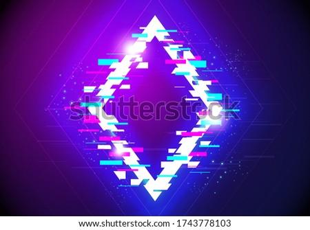 Vectir Illustration Futuristic Rhombus Sign With Cyber Glitch Effect.
